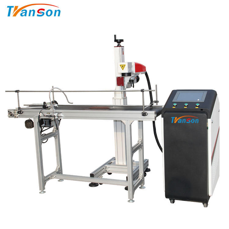 Easy Operate Touch Screen Flying Fiber Laser Marking MachineWith Convery Belt