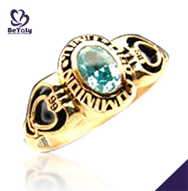 Gold plated signet brass custom cheap sports rings