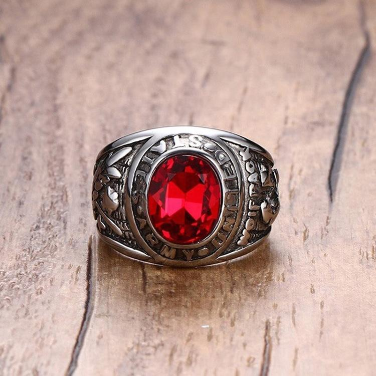 High quality red stone usssa baseball championship rings