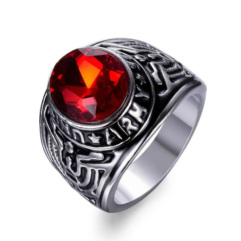 Vintage Style United State Army Signet Men'S Mood Rings