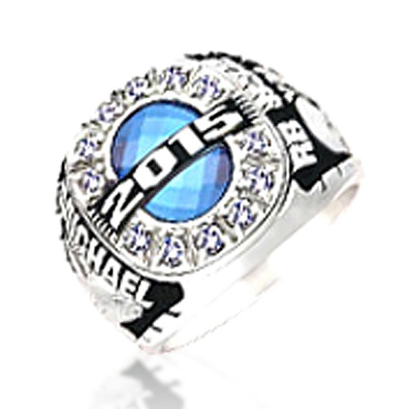 Signet Custom Design Blue Solid Amber 30 Year Anniversary Ring