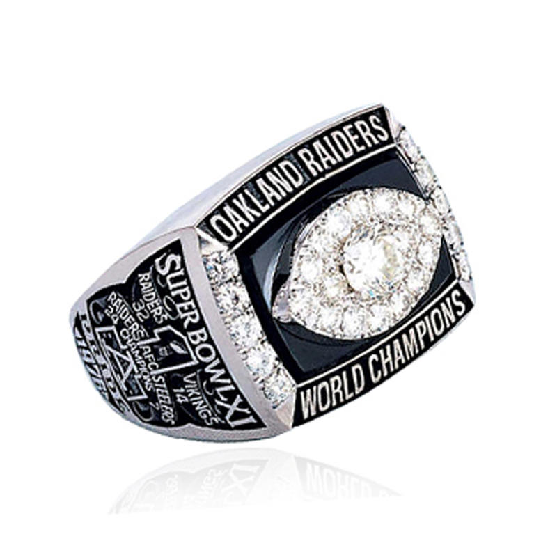 Unique football stone customized championship ring jewelry