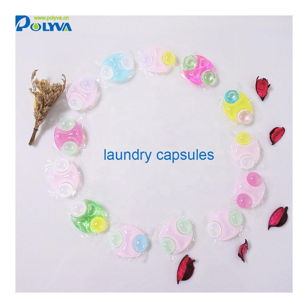 water soluble clean washing liquid detergent laundry pod wholesale laundry capsules 3in1