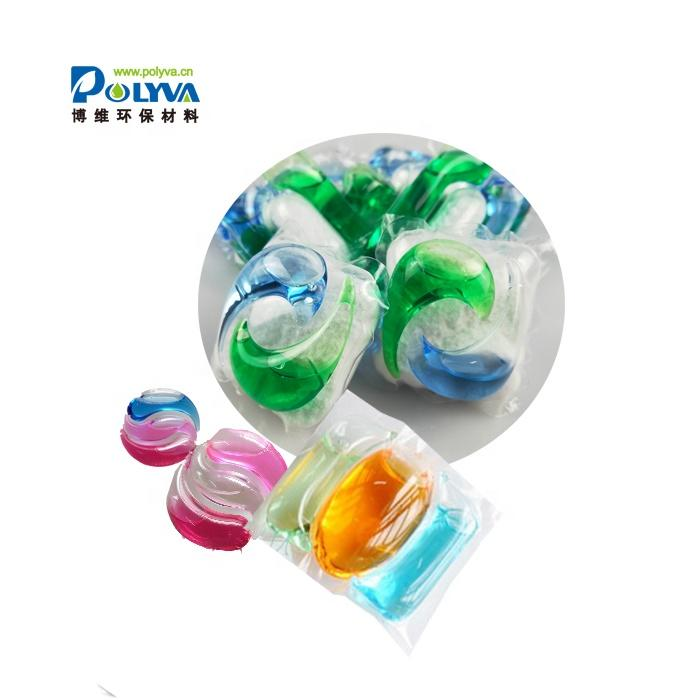 PVA material eco-friendly water soluble film laundry detergent capsule 3in1