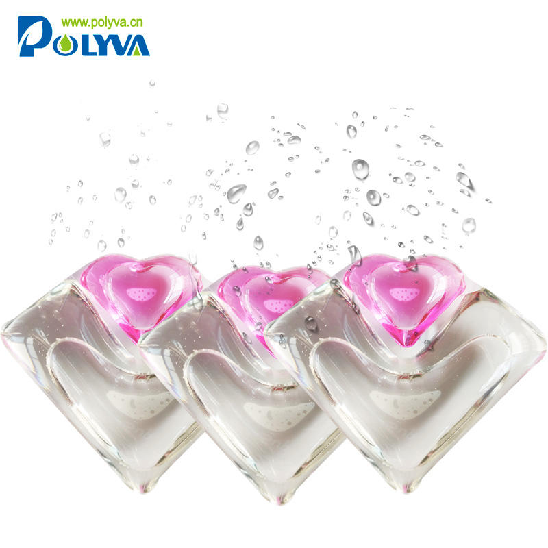 2 in 1 water soluble film laundry detergent liquid pod laundry gel capsule washing pods