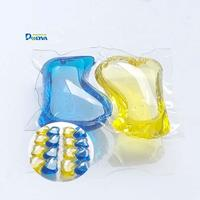 2 in 1 yellow and blue water soluble laundry pods