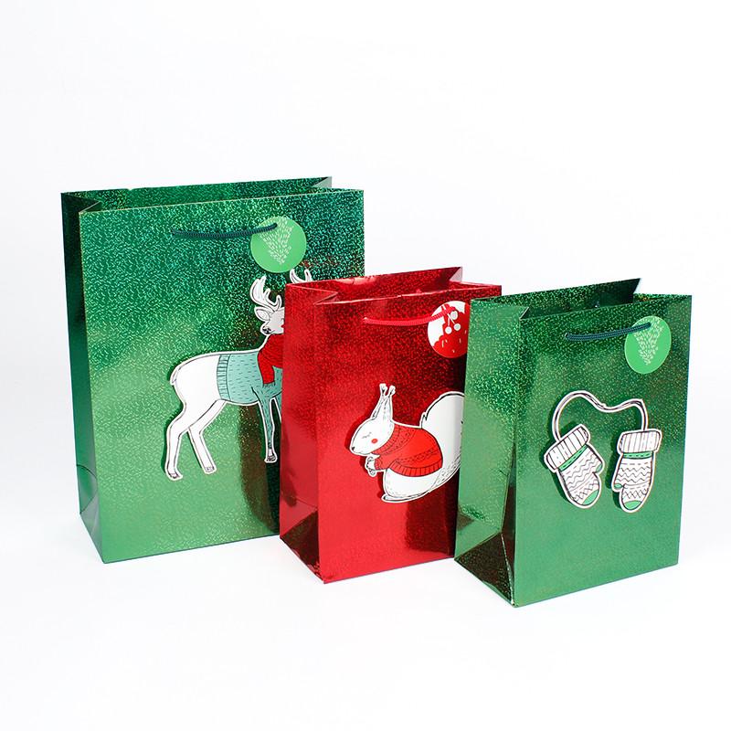 Christmas Paper Bag With Holographic Foil Lamination For Gift Paper Bag Bag