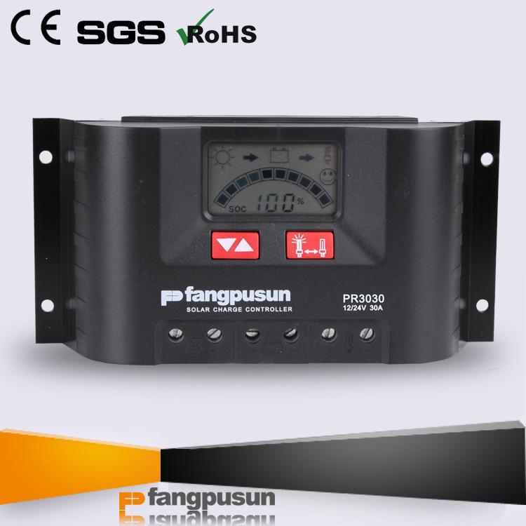 Warranty 2 Years Fangpusun Pr3030 Hybrid Solar Charge Controller 30A for 12V 24V Battery