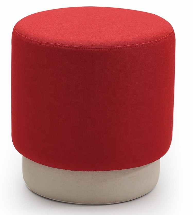 Home furniture multi color living room round foam ottoman fabric indian foam pouf