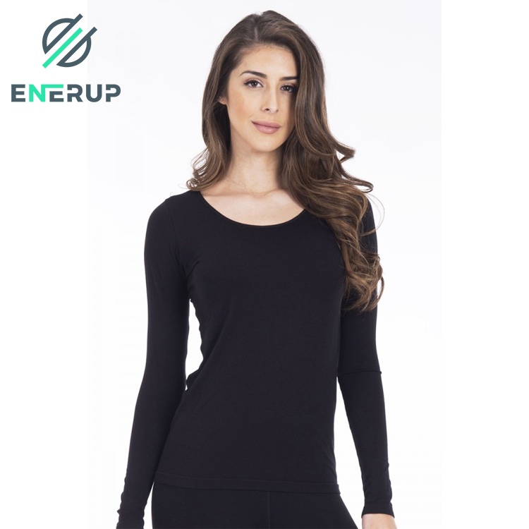 Enerup Wholesale Designs Ladies Women's Scoop Neck Basic Layer Spandex Long Sleeve Dty Fit T-Shirt Gym Sport Shirts