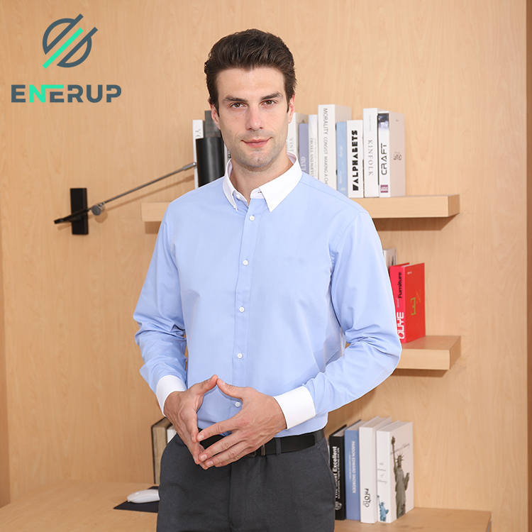 Enerup V Neck Dry Fit Plain Men'S Slim Polo T-Shirts Long Sleeve Custom Cotton Stinking-Proof Copper Ion Shirts For Men Casual