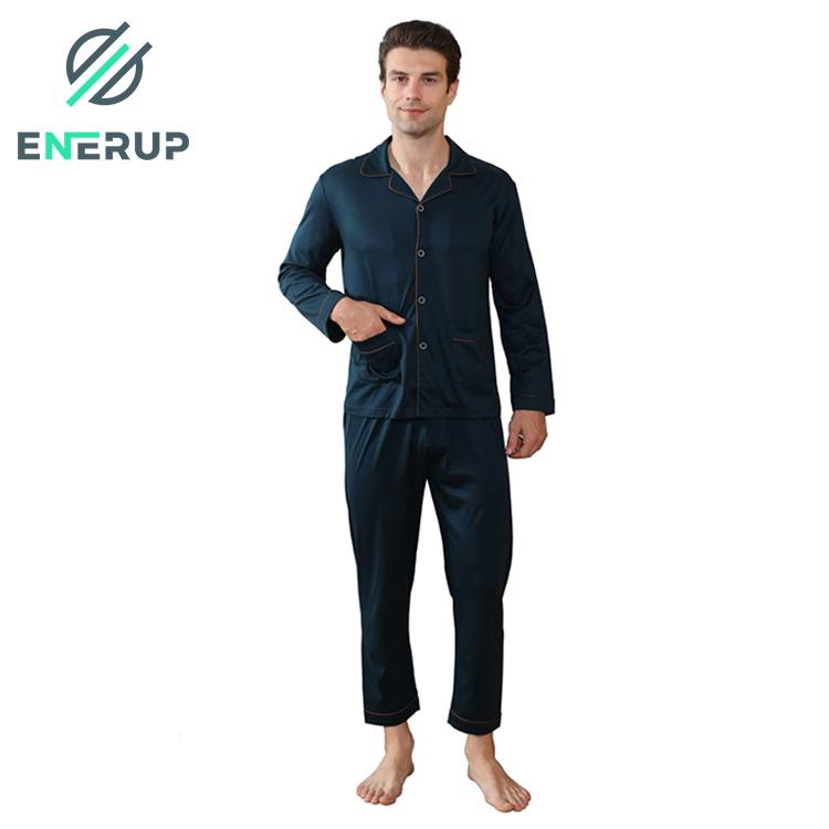 Enerup Wholesale Fashion Men's Copper Ion Pe Bamboo Women's Long Sleepwear Custom Nightgown Pajamas Set