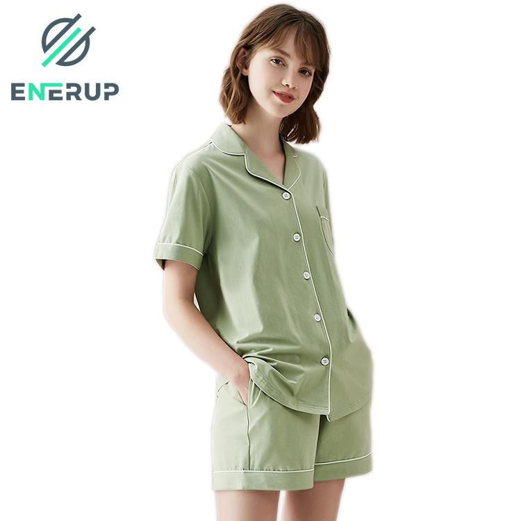 Enerup Fashion Copper Pe Bamboo Women's Half-Length Sleepwear Wholesale China Long Nightgown Pajamas Set