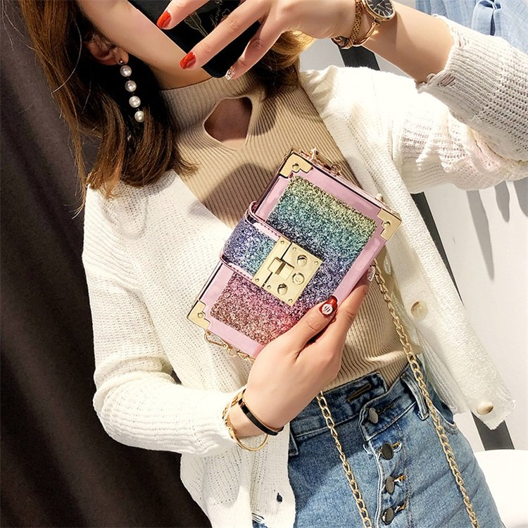 Osgoodway2 New coming women mini handbag Korean square sequined girl fashion chain bling purse handbag