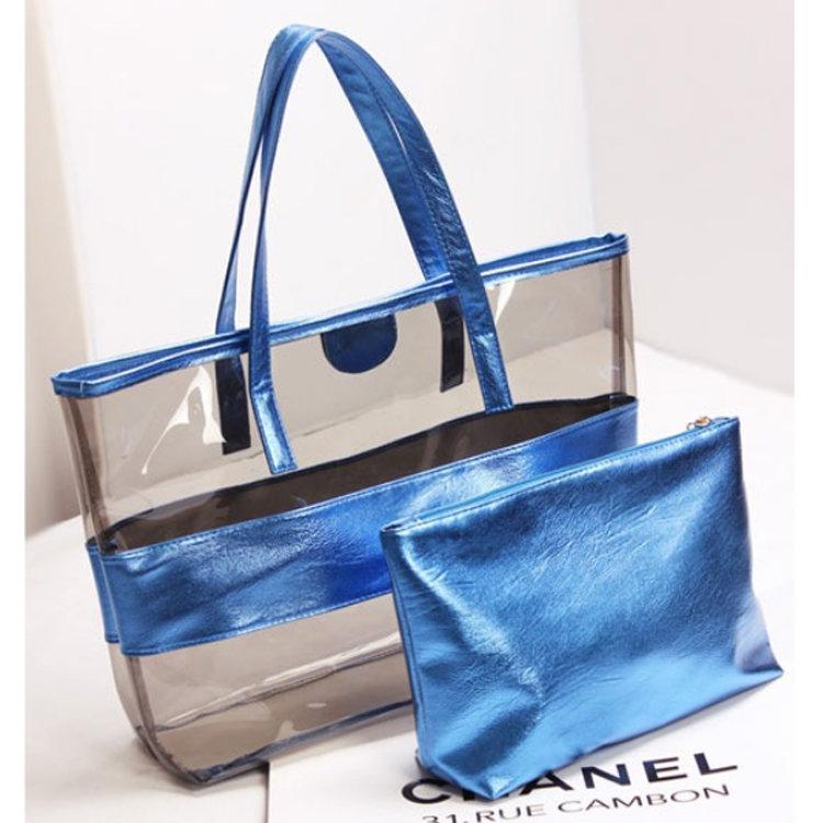 product-Osgoodway2 Waterproof 2 in 1 Transparent PVC Hand Bag Single Shoulder Summer Women Beach Tot-1