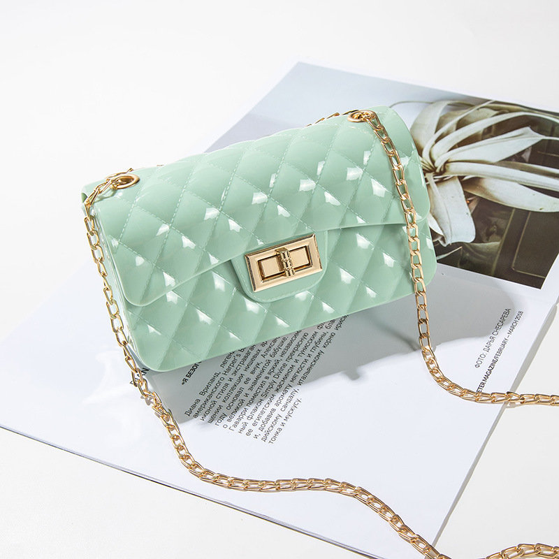 Osgoodway2 small chain rhombus crossbody bag jelly candy shoulder handbags for women