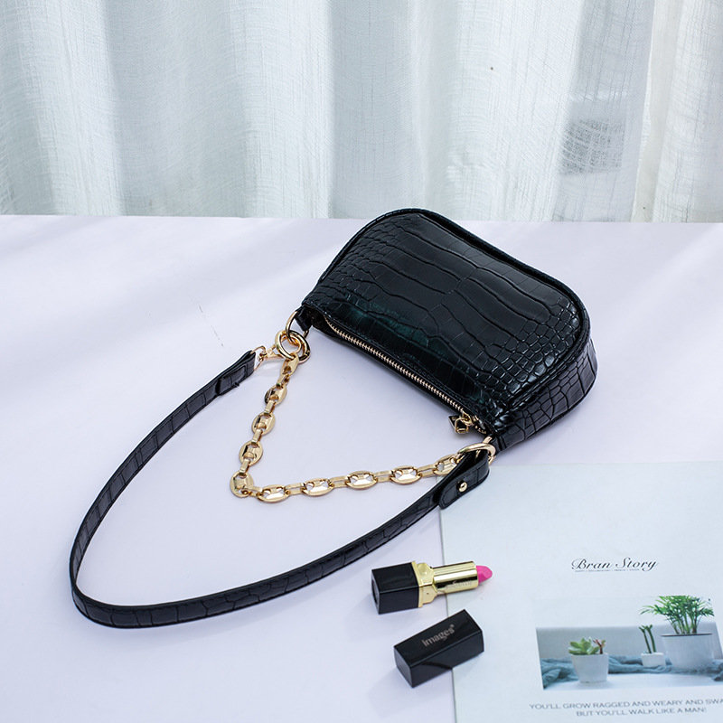 product-Osgoodway-Osgoodway2 Lady small underarm bag crocodile pattern hand bag shoulder bag PU leat