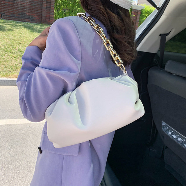 product-Osgoodway2 colorful girls single chain shoulder bag pleated women PU leather evening bag han-1