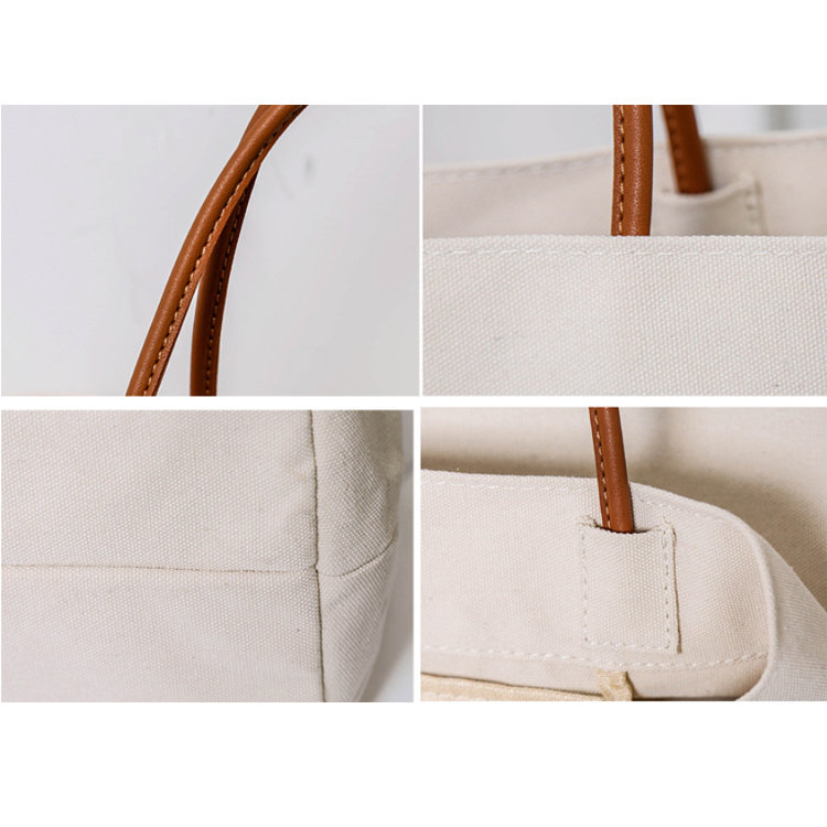 product-Osgoodway-Osgoodway2 Euramerican Big Canvas Shopping Bag Simple Solid Canvas Beach Tote Bag