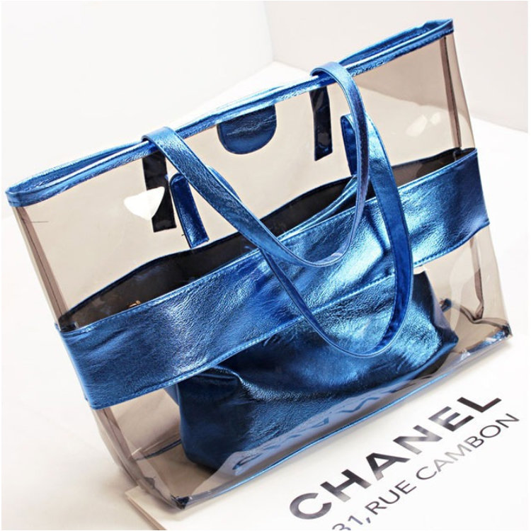 product-Osgoodway-Osgoodway2 Waterproof 2 in 1 Transparent PVC Hand Bag Single Shoulder Summer Women