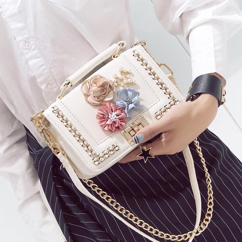 Osgoodway2 Women flower chain crossbody bag high quality ladies PU leather small purses handbags
