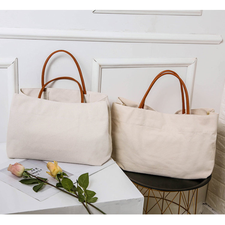 Osgoodway2 Euramerican Big Canvas Shopping Bag Simple Solid Canvas Beach Tote Bag with Leather Handle