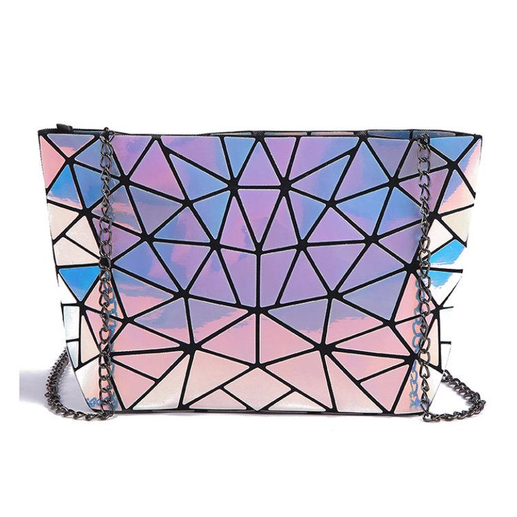 Osgoodway2 Geometric Women Sling Bag Ladies Laser Holographic pu Chain Crossbody Bag