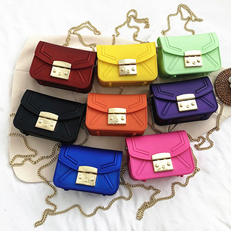 Osgoodway 2020 new matte frosted single shoulder crossbody small square bag candy color jelly bag chain bag