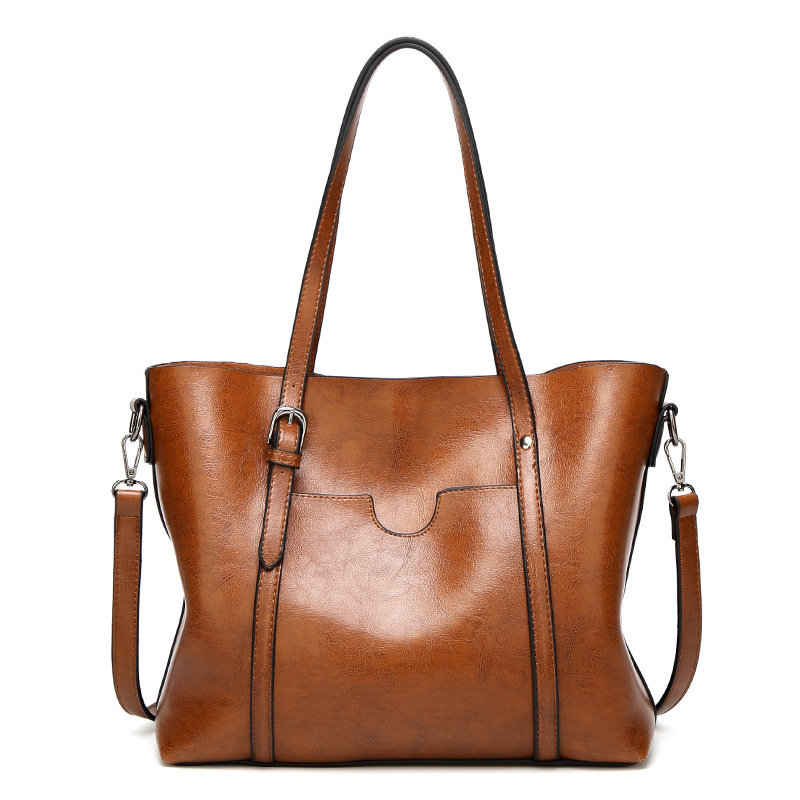 Osgoodway2 Women Bag Oil Wax Big PU Leather Handbags for Women Tote Handbags Ladies Bags