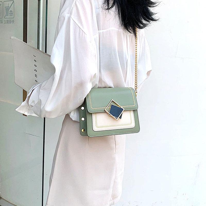 Osgoodway2 korean style PU small square shape wallet sling shoulder bag soft leather crossbody bag