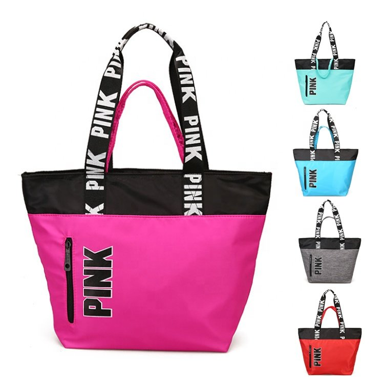 Osgoodway2 Fashion Pink Hand Bag Shopping Bags Waterproof Nylon Leisure Tote Gym Shoulder Bag for Girls Womens