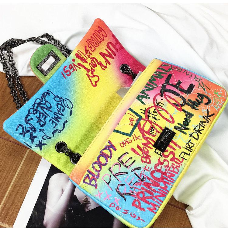 product-Osgoodway 2020 Graffiti Bag Ladies Fashion Handbags Women Leather Graffiti Shoulder Crossbod-1
