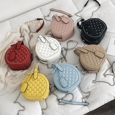 Osgoodway2 Fashion rhombic rivet round women crossbody small bag girl bags handbags