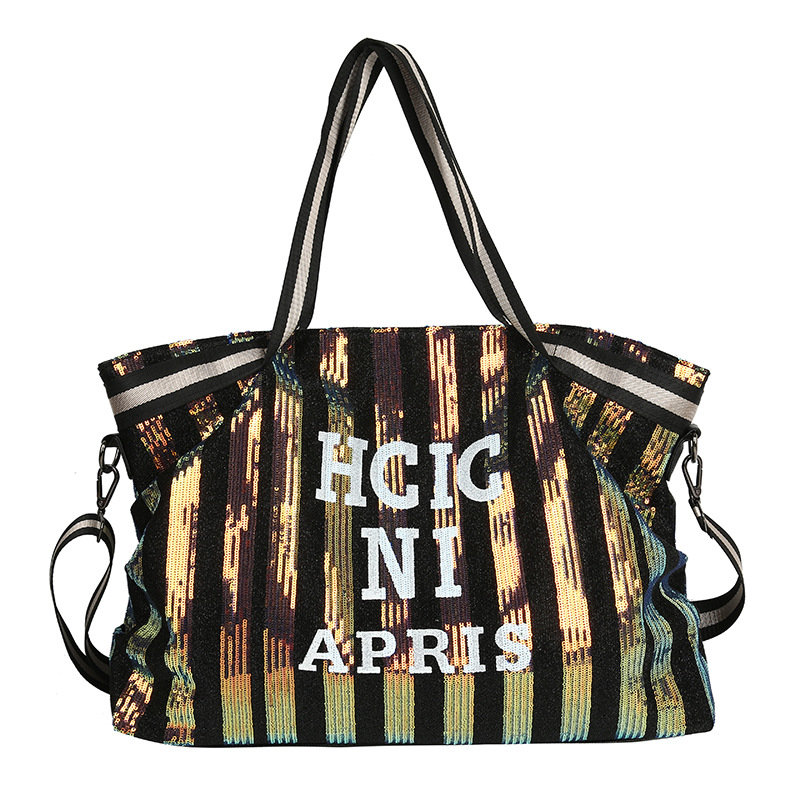 Osgoodway2 Glitter letter lady handbag high capacity short distance sequined letter large tote handbag women travel bags