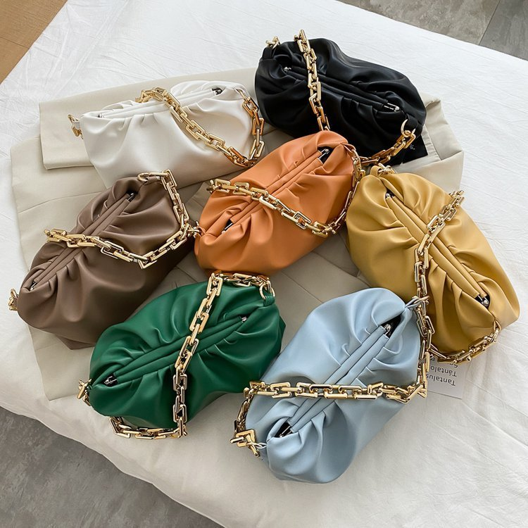 Osgoodway2 colorful girls single chain shoulder bag pleated women PU leather evening bag handbags