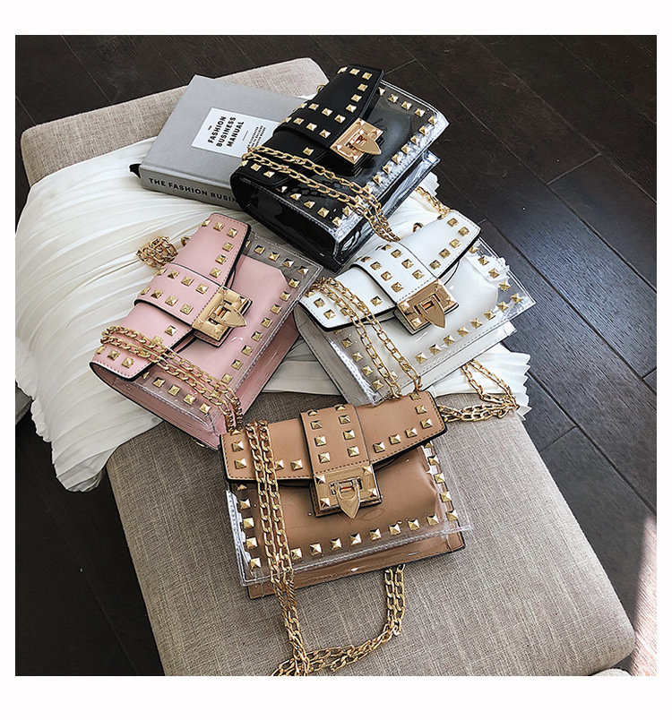 Osgoodway2 Brand leather rivet chain crossbody bags women colorful purses handbags
