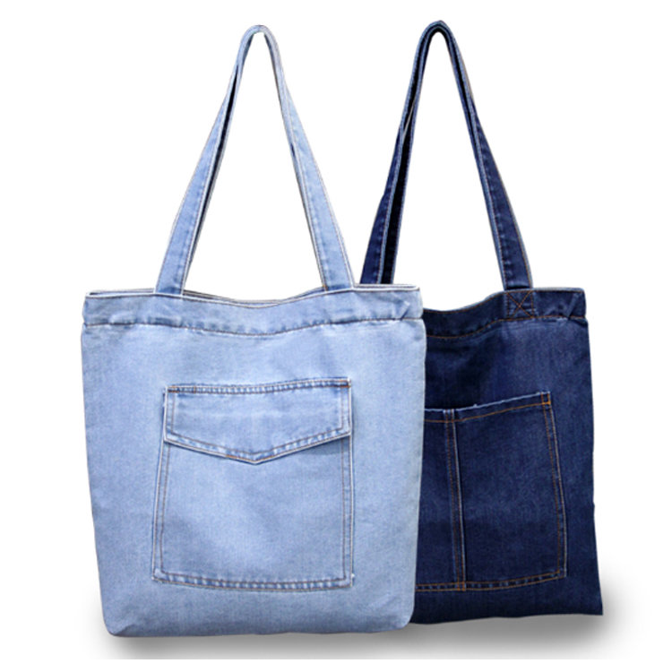Osgoodway2 Casual Denim Fabric Tote Shoulder Shopping Bag Wholesale Women Handbags