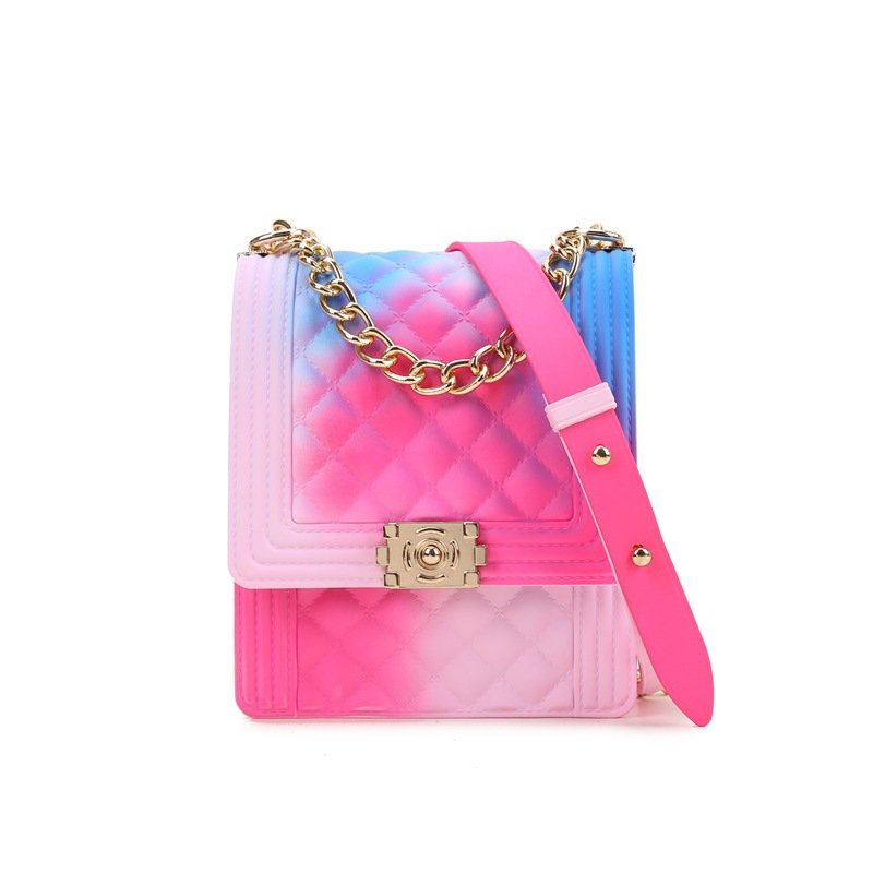 product-Osgoodway2 Colorful PVC jelly small square chain clutch crossbody bag little girls rainbow h-1