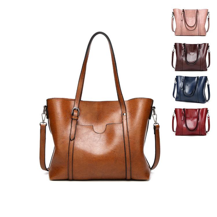 Osgoodway2 Wholesale fashion oil wax PU leather handbags stylish ladies big women shoulder hand bag