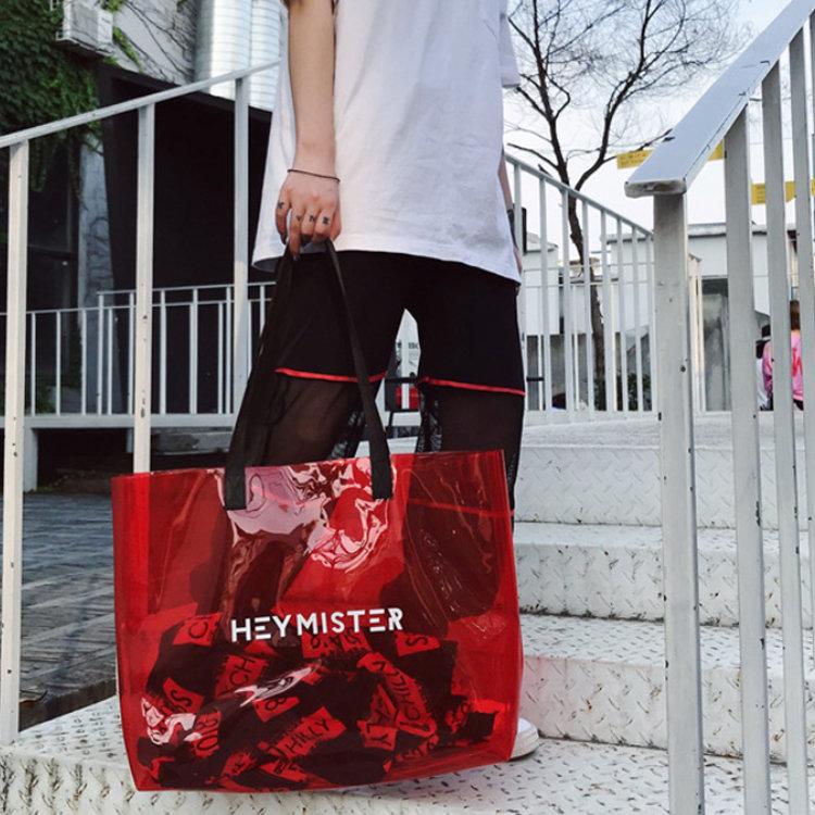 Osgoodway2 New Arrival Portable Women Bags Big Single-Shoulder Transparent pvc Jelly Bag Handbags