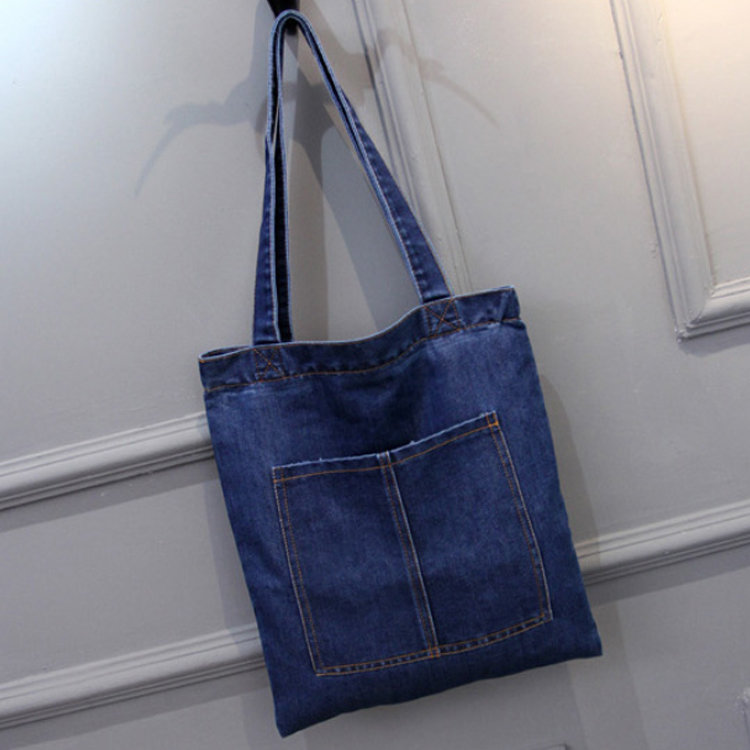 product-Osgoodway-Osgoodway2 Casual Denim Fabric Tote Shoulder Shopping Bag Wholesale Women Handbags
