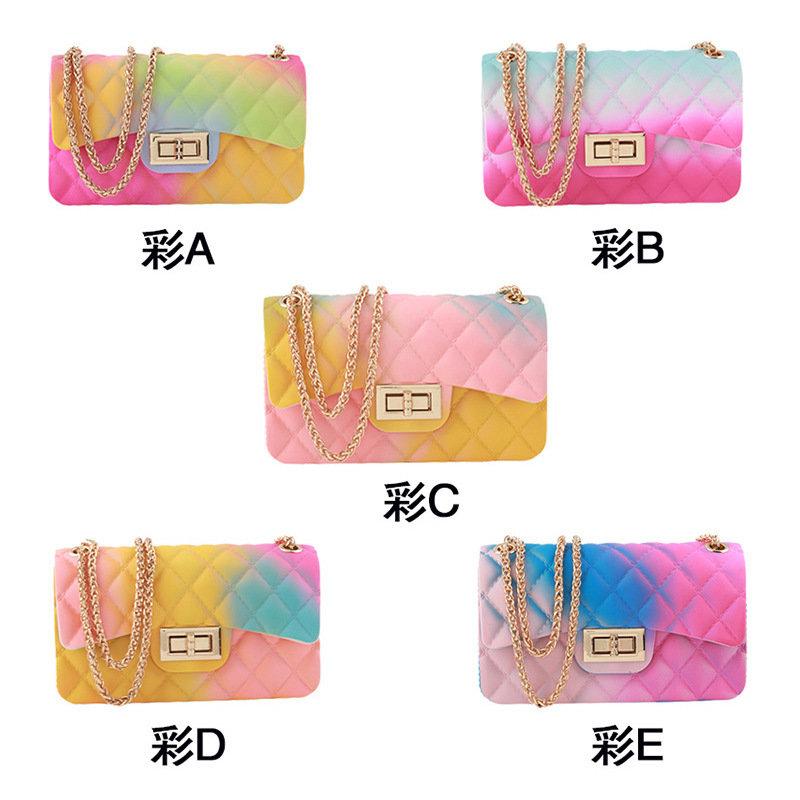 product-Osgoodway2 Trendy rhombus chain ladies rainbow small crossbody bag pvc jelly handbags-Osgood-1