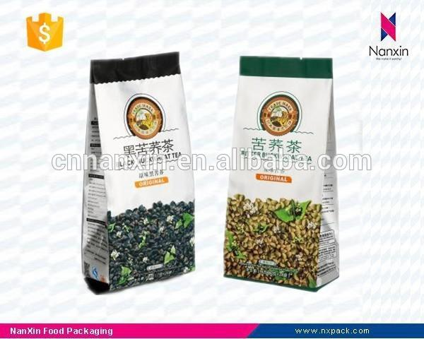 custom printed tea packaging quad sealed pouch