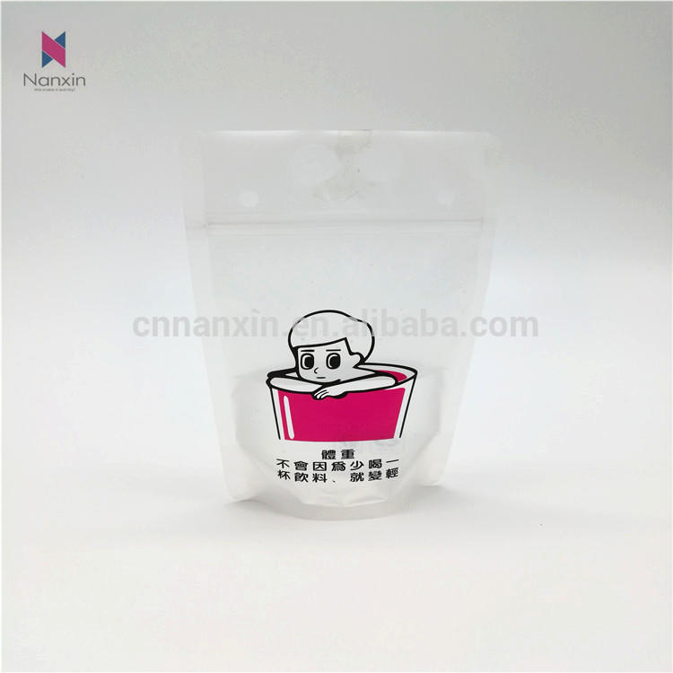 transparent liquid packaging with handle holes stand-up pouch bag
