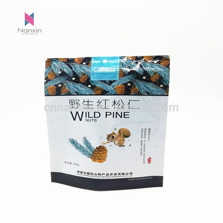 Wild pine nut packaging and printing zipper lock stand up pouch with clear window