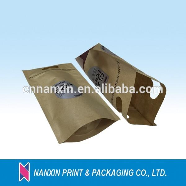 Kraft paper bag for dried fruit nuts krafte paper coffee bags with clear window