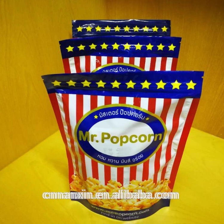 OPP/CPP popcorn packaging bag stand up pouch