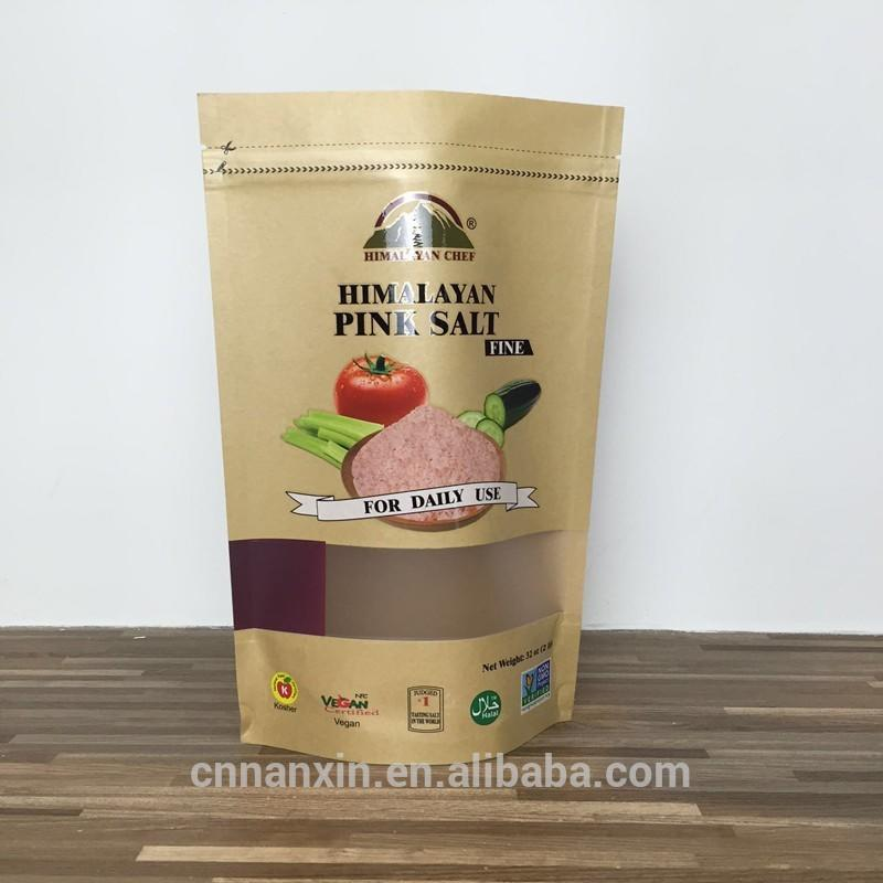 Eco-Friendly food packaging bag different size brown kraft paper bag with zipper