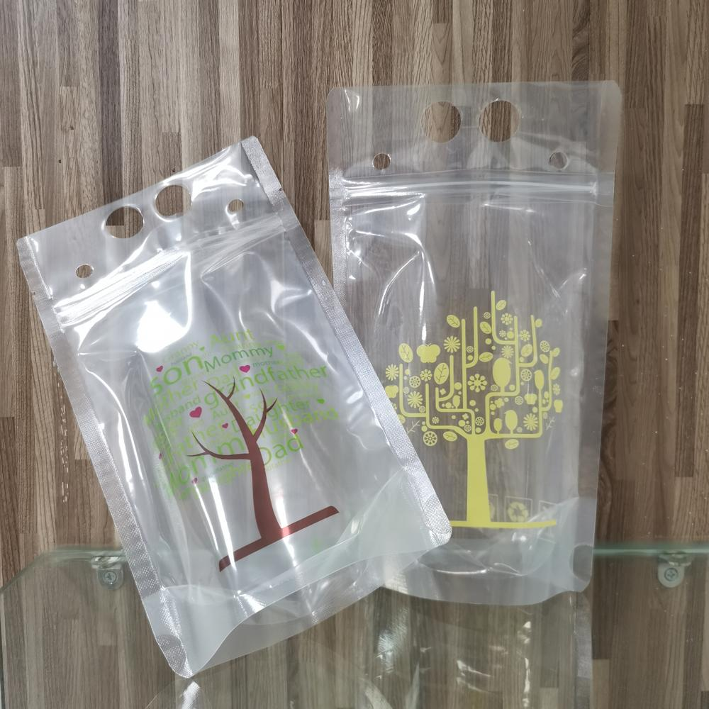 TransparentPortableStand up pouch for juice Drink