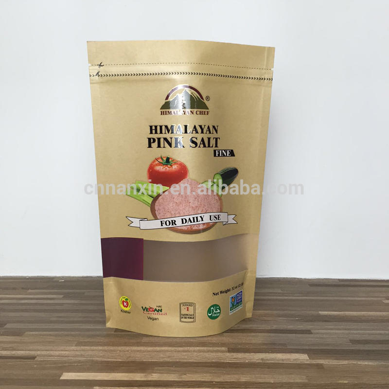 Bodiness food grade brown kraft paper bag with window